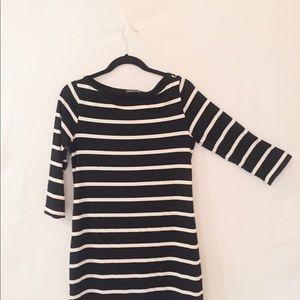 Black & White striped long sleeve dress